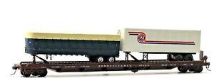 HO Pennsylvania 75' Flat Car 470415 with 2 Trailers GFI Trucking/Generic