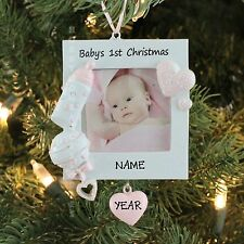 GIRL PINK PICTURE FRAME BABY`S FIRST CHRISTMAS PERSONALIZED TREE ORNAMENT