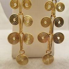Gold Swirl Design Drop Earrings