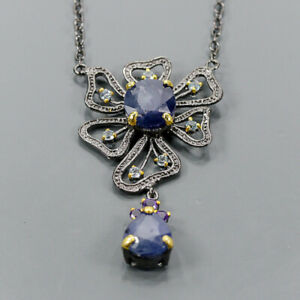 """One of a kind Blue Sapphire Necklace 925 Sterling Silver  Length 18.5""""/N06523"""