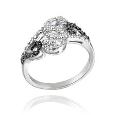 925 Silver Black Diamond Accent Swirl Design Ring Size 5
