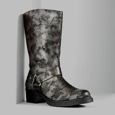 NIB women girl boots VERA WANG Silver metallic buckle winter cowboy sz 5.5 $110
