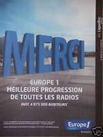 PUBLICITÉ RADIO EUROPE1 MERCI MEILLEURE PROGRESSION DE TOUTES LES RADIOS