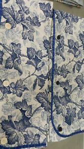 Waverly Drapes- Blue & White-2 Leaves Panels Available-So Pretty-Button Detail