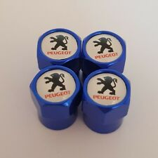 PEUGEOT White top BLUE car Valve Alloy wheel dust Caps All models