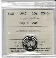 Canada 1947 ML 10 Cents silver dime ICCS MS-63