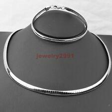 Women/men's Jewelry Silver Stainless Steel Choker Chain Necklace Bracelet Set