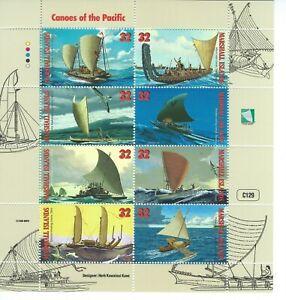 Marshall Islands Sc 655a-h  Canoes of the Pacific Pahi Sailing canoe, Maori war,