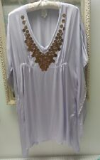 Anthropologie Ella Moss Kimono Sequin Kaftan Tunic Dress Small Med Silk