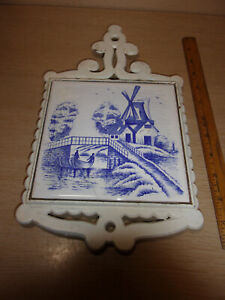 #6 TRIVET MADE IN JAPAN TABLE OR WALL WHITE DELFT  SOLD AS IS