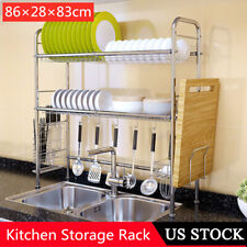 2 Tiers Over the Sink Stainless Steel Rack Dishes Plate Tray Bowls Drainer Shelf