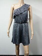 NEW - Kensie Dresses - Size L - One Shoulder With Belt Dress - Sequin Grey $89