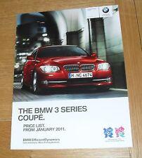 BMW SERIE 3 COUPE E92 listino prezzi 2011 SE M Sport 320i 325i 320d 325d 330d 335d
