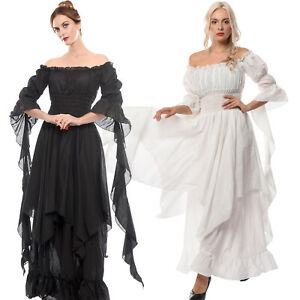 Women Medieval Renaissance White Long Court Dress Night Princess Nightwear Gown