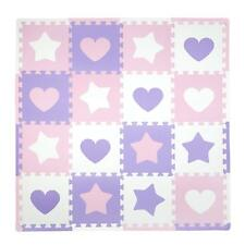 Tadpoles 16 Sq Ft Hearts and Stars Playmat Set, Pink/Purple/White , New, Free Sh
