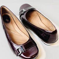 Clarks Artisan Women's Plum Glossy Leather Slip On Low Heel Pumps Size 9.5 M