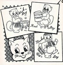 Vintage Embroidery transfer repo 3124 Happy Kittens for Daily Kitchen Dish Towel