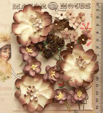 BROWN, SEAL & IVORY 22 Flowers & Roses - 4 Tones 4 Styles PAPER 15-55mm VA2