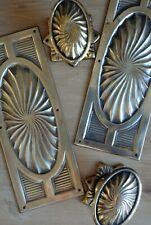 Vintage Brass Door Knobs Antique Oval Mortice Handles & Fingerplates Edwardian