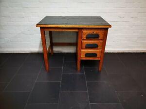 Vintage Mid Century 50/60's Oak Desk Black Perspex Top 36in x 24in x 28in High