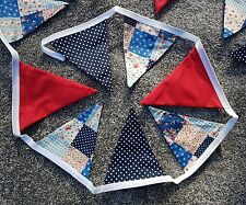 Patchwork  bunting blue red spotty