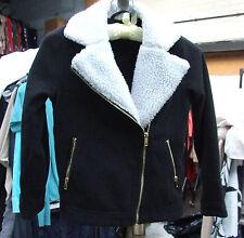 H&M Wonderful Girls Black & White Warm Faux Sheep-Skin Coat Girl Age 7-8 Years