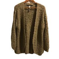 Kensie eyelash fuzzy knit cardigan sweater tan open front sz L Chunky oversized