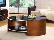 Jual Furnishings JF301 Retro Curved / Oval Coffee Table - Walnut & Black Glass