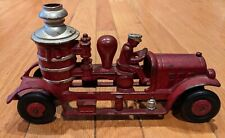 """Kenton cast iron pumper toy fire truck 10"""", 1930's, red painted, rubber wheels"""
