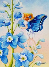 40% OFF SALE! ACEO Limited Edition Print Garden Fairy Blue Delphinium Flower 2
