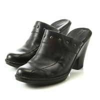 Born Black Leather Studs High Heel Clogs Mules Slip On Shoes Womens 9 EUR 40.5