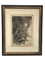 VTG Boy with a Candle Engraved Print Phyllis Greenfield SIGNED Framed Sketch