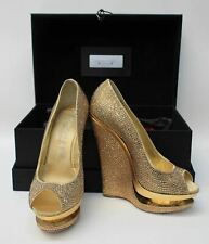 GIANMARCO LORENZI Ladies Gold Crystal Embellished Peep Toe Shoes EU37 UK4 NEW