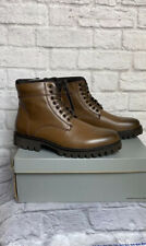 Kenneth Cole Reaction Nelson Leather Boots Lace Up Cognac Sz 10 Mens New NWB