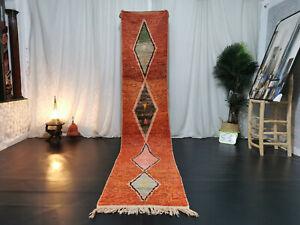 "Handmade Moroccan Boujad Runner Rug 2'3""x11'3"" Geometric Orange Berber Wool Rug"