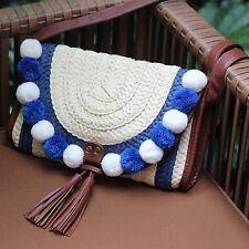 New Women Crochet Bag Travel Beach Straw Cross Body Pom Pom Tassel Shoulder Bag