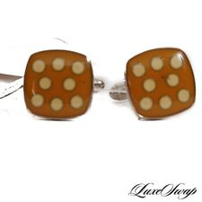 NWT Anonymous Made in Italy Silver Metal Curry Cream Ladybug Spot Cufflinks #9