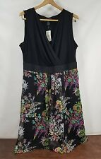 New! Womens Lane Bryant Black Floral Sleeveless Deep V Plunging Dress Size 20 1X