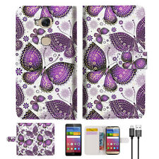 Purple Butterfly Wallet Case Cover For Huawei Ascend GR5 2017 Phone Case -- A017