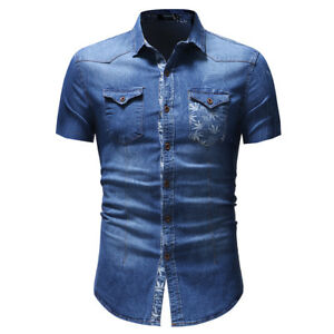 New Mens Shirts Short Sleeve Slim Fit  Button Down Washed Denim Casual WA170