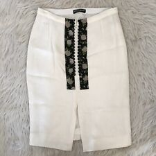 Dolce & Gabbana Ivory & Black Floral Button Pencil Skirt Womens Size 28