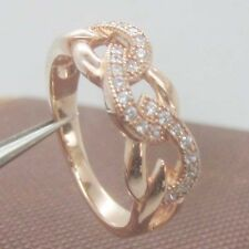 Solid 14kt 585 Rose Gold Special Natural Diamond Ring
