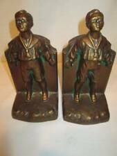 Antique Vintage K & O Kronheim Oldenbusch Bronze Bookends Pair School Boy Metal