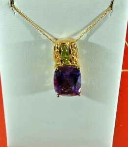PLAYA QUARTZ, HEBEI PERIDOT 14kt YG OVER SOLID 925 S.S. PENDANT & 20 INCH CHAIN