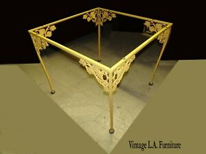 Vintage French Country Yellow Iron Ornate Garden Side Table No Glass