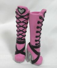 Draculaura Monster High Doll Boots Silver Heart Design Pink Black Heeled Boots