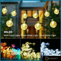 60 LED Retro Bulb String Lights Solar Powered Garden Outdoor Fairy Summer Lamp