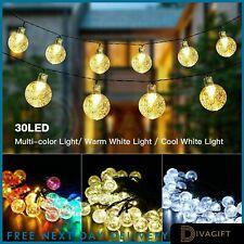 60 LED Retro Bulb String Lights Solar Powered Garden Outdoor Fairy Summer Lamp