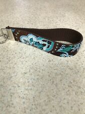 Key Ring Fob - Handmade with Vera B Fabric -  Java Blue - Wristlet - NEW!