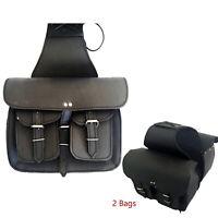 Motorcycle Leather MotorBike Leather Cruiser Dual Pocket Saddle Luggage Bag